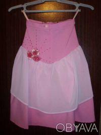 Розовая нарядная юбка для девочки, рост 98, длина по спинке см, состав ткани: 10. Київ, Київська область. фото 2