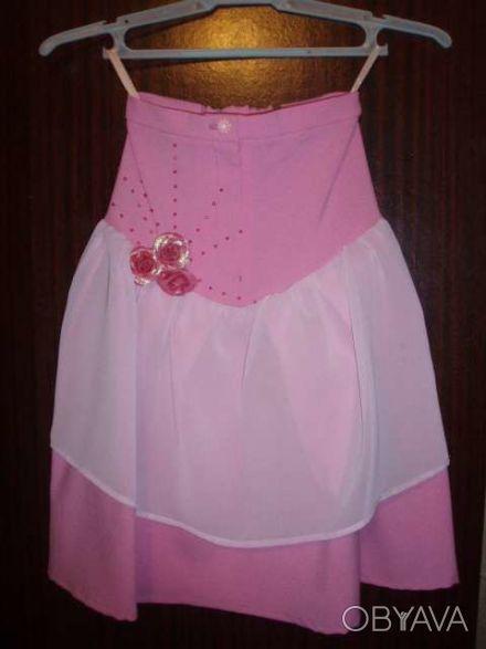 Розовая нарядная юбка для девочки, рост 98, длина по спинке см, состав ткани: 10. Київ, Київська область. фото 1