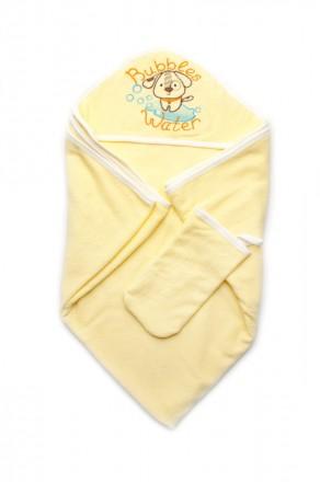 Качественное махровое полотенце 95х95 см с рукавичкой Bubbles Water желтое. Харьков. фото 1