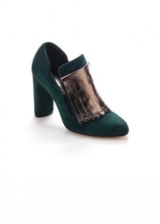 Туфли из натуральной замши темно-зеленого цвета и вставкой кожи с перламутром. Винница. фото 1