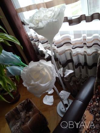 Квіти на підставці, у підставці по 3 квітки. Гарне доповнення до спальні або зал. Галич, Ивано-Франковская область. фото 1