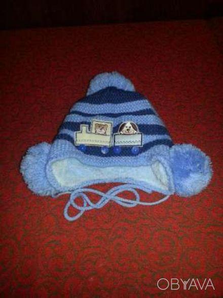 Шапка детская на мальчика, на зиму. Очень теплая, мягкая, с помпонами на уровне . Кривий Ріг, Дніпропетровська область. фото 1