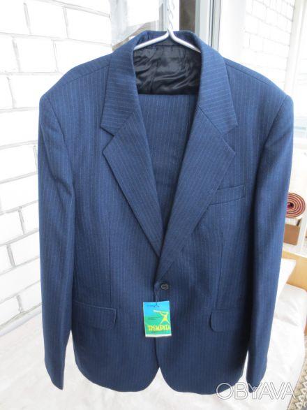 Новий високоякісний напівшерстяний костюм темно синього кольору, з ярликом, вітч. Тернополь, Тернопольская область. фото 1