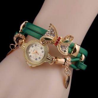Наручные часы женские с зеленым ремешком Золотая бабочка код 331. Запорожье. фото 1