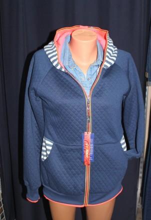 Толстовка синяя стеганая с капюшоном код М7. Запорожье. фото 1