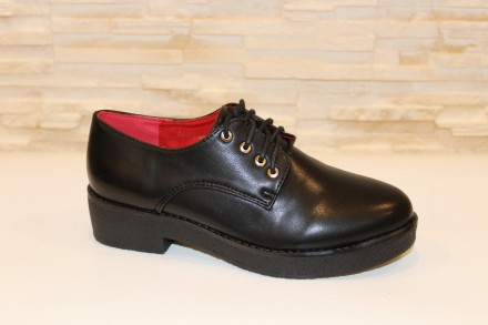 Туфли женские черные на шнурках Т630 37. Запорожье. фото 1