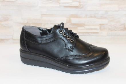 Туфли женские черные на шнуровке Т45 37. Запорожье. фото 1
