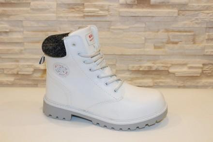 Ботинки зимние белые на шнурках код С715 39. Запорожье. фото 1