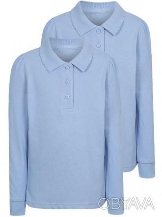 На девочку голубая школьная футболка - поло с длинным рукавом George.  Размер:. Киев, Киевская область. фото 1