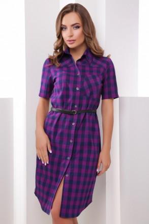 Платье рубашка в клетку М-1786 фиолетовый. Харьков. фото 1
