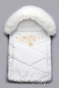 Конверт для новорожденного с опушкой белый. Дніпро. фото 1
