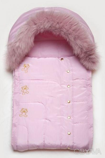 Зимний детский конверт для новорожденной девочки на утеплителе PolyTex с натурал. Днепр, Днепропетровская область. фото 1