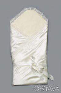 Конверт-одеяло нарядное на выписку для новорожденных (молочный). Дніпро. фото 1