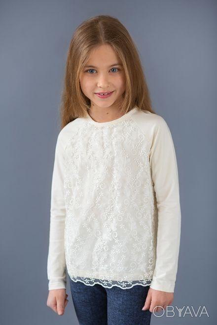 Реглан из высококачественной хлопковой ткани для девочек 5- 8 лет украшенный кру. Днепр, Днепропетровская область. фото 1