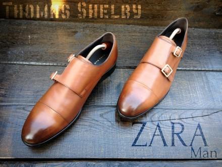 Zara Man. Кожаные мужские монки туфли броги. Bally Church's Loake. Ровно. фото 1