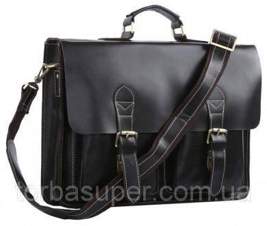 Портфель Vintage 14205 кожаный Черный, Черный. Днепр. фото 1
