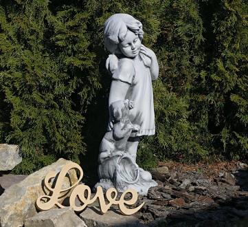 Садовая фигура девушки из провинции – замечательная скульптура девочки с собачко. Хмельницкий, Хмельницкая область. фото 3