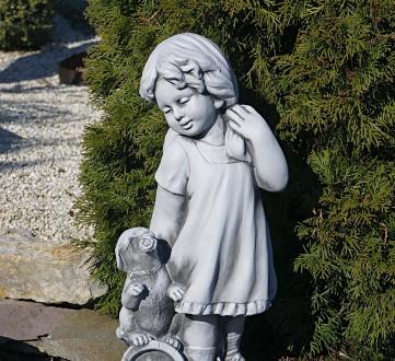 Садовая фигура девушки из провинции – замечательная скульптура девочки с собачко. Хмельницкий, Хмельницкая область. фото 4