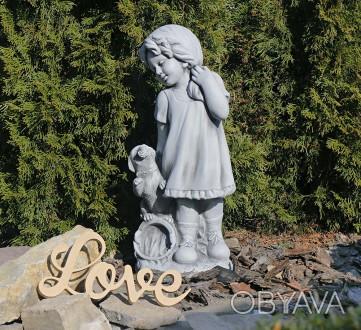 Садовая фигура девушки из провинции – замечательная скульптура девочки с собачко. Хмельницкий, Хмельницкая область. фото 1