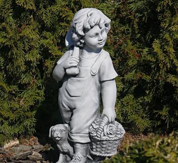 Садовая фигура Деревенский мальчик – замечательная скульптура мальчика с собачко. Хмельницкий, Хмельницкая область. фото 3