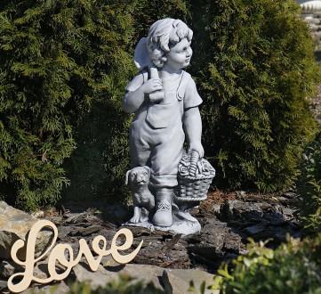 Садовая фигура Деревенский мальчик – замечательная скульптура мальчика с собачко. Хмельницкий, Хмельницкая область. фото 2