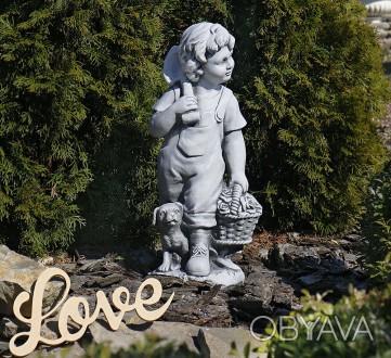 Садовая фигура Деревенский мальчик – замечательная скульптура мальчика с собачко. Хмельницкий, Хмельницкая область. фото 1