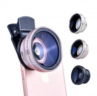 Линза-объектив Apexel для телефона 2в1 широкоугольный, макро ATX-0.45W. Харьков. фото 1