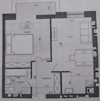 1-комнатная квартира, 50 кв.м. Винница. фото 1