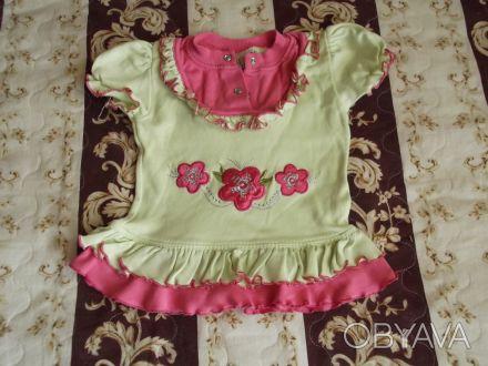 Продам футболку на девочку на рост 80см и 92 см (Турция) в хорошем состоянии, бе. Киев, Киевская область. фото 1