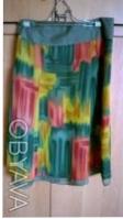 Цветная шифоновая юбка на однотонной шифоновой подкладке.Впереди с боку разрез у. Киев, Киевская область. фото 4