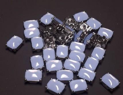 Стразы пришивные в оправе (в цапах) «Прямоугольник» Opal Light Sapphire 6*8мм. Харьков. фото 1