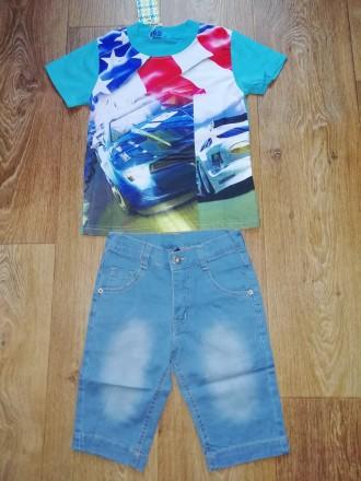 Комплект двойка с джинсовыми шортами для мальчика р.4-12. Запорожье. фото 1
