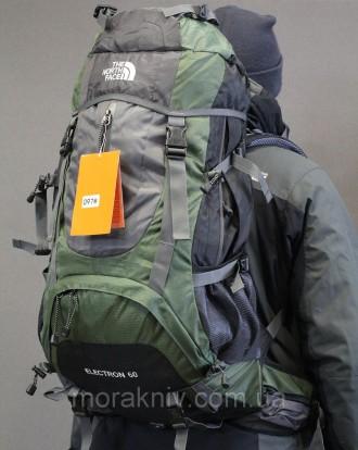 Туристический рюкзак North Face Extreme 60 литров (Оливковый). Первомайский. фото 1