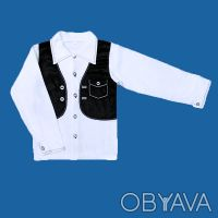 Рубашка с жилеткой-обманкой,     для мальчиков, школьная с длинным рукавом, заст. Одесса, Одесская область. фото 2