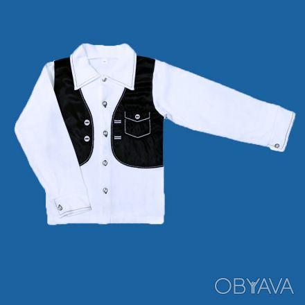 Рубашка с жилеткой-обманкой,     для мальчиков, школьная с длинным рукавом, заст. Одесса, Одесская область. фото 1