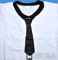 ФОТО 1. футболка с галстуком,   для мальчиков, с коротким рукавом. Галстук из а. Одесса, Одесская область. фото 4