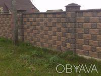 Заборные Блоки,Крышки,Парапеты...вибропрессованные,цены от производителя,доставк. Киев, Киевская область. фото 2