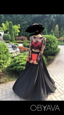 Платье одевалось 1 раз на выпускной, состояние отличное. Юбка из атласа по талии. Сумы, Сумская область. фото 1