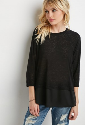 Трикотажный черный джемпер кофта свитер с шифоном размер s forever 21. Белая Церковь. фото 1