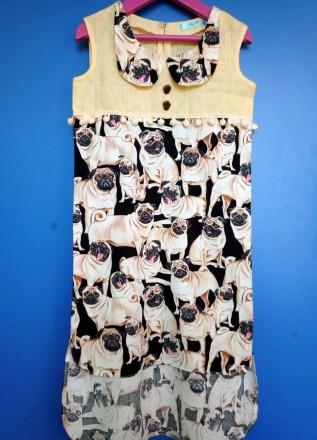 """Платье """"Мопсики"""". Только для модниц!  Легкое летнее платье на девочку с ориги. Днепр, Днепропетровская область. фото 2"""