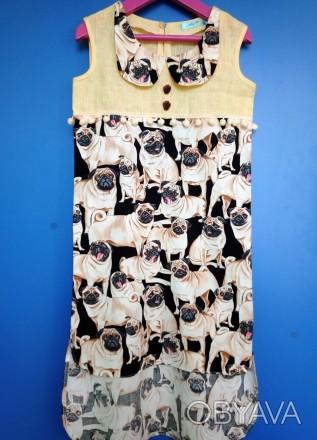 """Платье """"Мопсики"""". Только для модниц!  Легкое летнее платье на девочку с ориги. Днепр, Днепропетровская область. фото 1"""