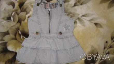 Отличный джинсовый сарафан на девочку от 1,5-3 лет, спинка закрытая шлейки регул. Одесса, Одесская область. фото 1