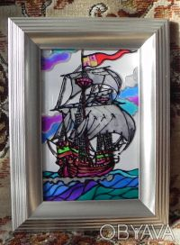 Витражная картина «Парусник в океане. Каракка ». Чернигов. фото 1