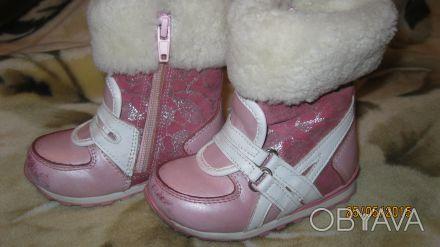 Зимние сапоги на девочку, мех не забитый, только стесаны немного носки, производ. Одесса, Одесская область. фото 1