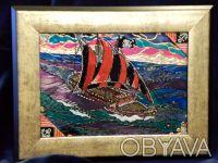 Серия «Парусники»: Пиратская галера Размер живописного поля: 180 х 130 (мм) Ви. Чернигов, Черниговская область. фото 3