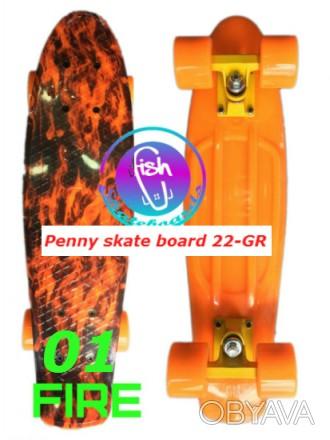 Пенни 22-GR penny print лонгборд скейт 56 см fish cruiser skate board Размер: 2. Київ, Київська область. фото 1