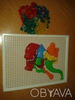 3 В 1 ( 2 кнопочные мозайки  и слоник мозаичный) для развития моторики деток .со. Житомир, Житомирська область. фото 2