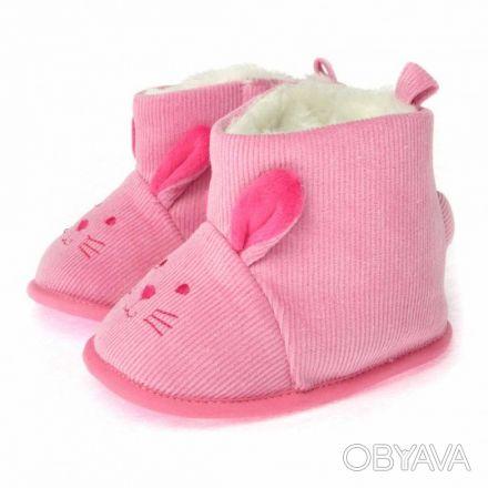 Отличные пинетки для девочки розового цвета в виде зайчика. Утепленная флисовая. Суми, Сумська область. фото 1