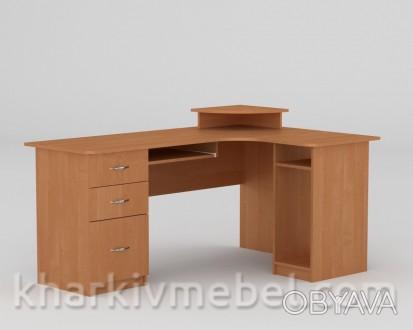 Продам б/у угловой компьютерный стол со стеллажом на железной ножке. С широкими . Бровары, Киевская область. фото 1