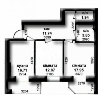 Продам двухкомнатную квартиру в ЖК Карат по ул.Университетская, напротив парк Це. Ирпень, Киевская область. фото 3